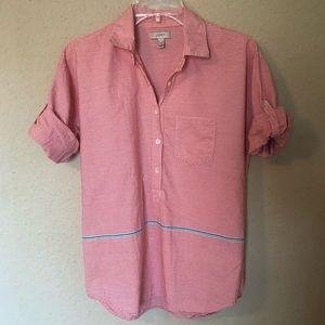 J. CREW Red/White Striped Cotton Top